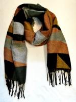 Теплый длинный зимний шарф с бахромой, многоцветный