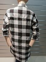 Оверсайз рубашка в клетку с бусинами