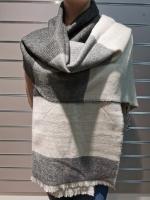 Теплый длинный зимний шарф, серый/белый