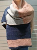 Теплый длинный зимний шарф, розовый/синий